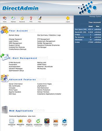 Dashboard voor Direct Admin, een applicatie om webservers te beheren