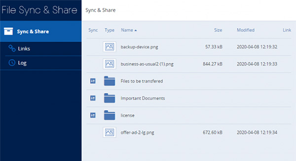 Het File Sync & Share dashboard van Acronis